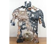 Sculpture de Philippe Buil en metal : dentelle d'acier et bronze Kouros L'oeil du cyclone Hauteur 62 cm Piece unique
