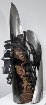 Sculpture de Philippe Buil en bronze et Acier Kouros Willow Piece unique