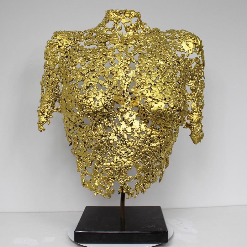Belisama Gold - Sculpture Philippe Buil - Buste de femme Metal D