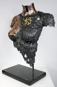 35 buste femme acier, bronze, or, Agate Mousse 3