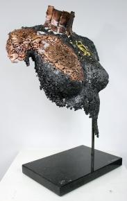 35 buste femme acier, bronze, or, Agate Mousse 4