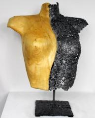 Sculpture de Philippe Buil en dentelle de d'acier et Bois Socle en acier Belisama Sebaste 53 x 43 x 22 cm 2,6 Kg Piece unique