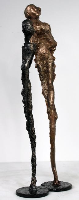 Sculpture de Philippe Buil en metal bronze et acier représentant 2 personnages Muse Contemplation Piece unique