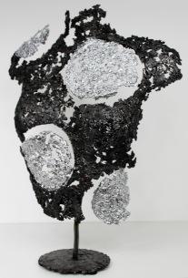 Sculpture de Philippe Buil en metal : dentelle d'acier et effet chrome Belisama Belles lunes Piece unique