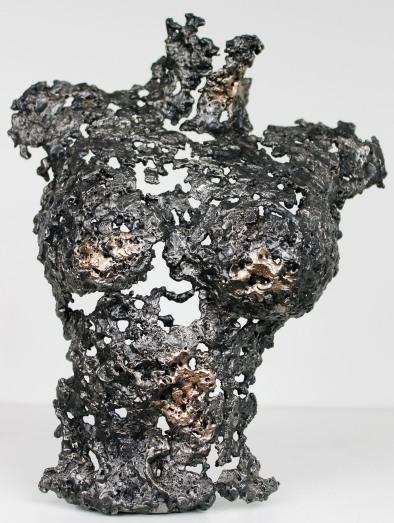 Buste femme en métal : dentelle de bronze et d'acier Pavarti Lucia Pièce unique