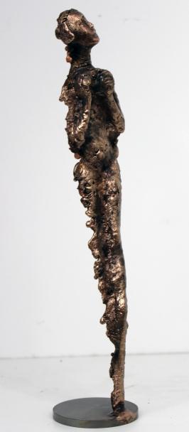 Sculpture de Philippe Buil en metal bronze représentant 1 personnage Muse Meditation Piece unique
