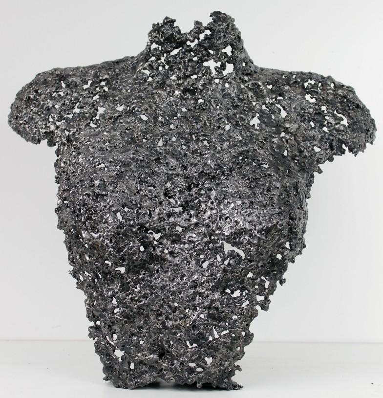 Sculpture de Philippe Buil en metal : dentelle d'acier Buste de Femme Belisama Steel One Piece unique