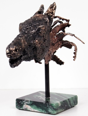 Sculpture de Philippe Buil en metal : dentelle de bronze et d'acier Tete cheval Cheval Hybride Piece unique