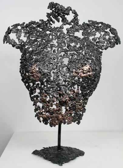 Sculpture de Philippe Buil en metal : dentelle de bronze et d'acier Buste de Femme Belisama !haute Couture Piece unique