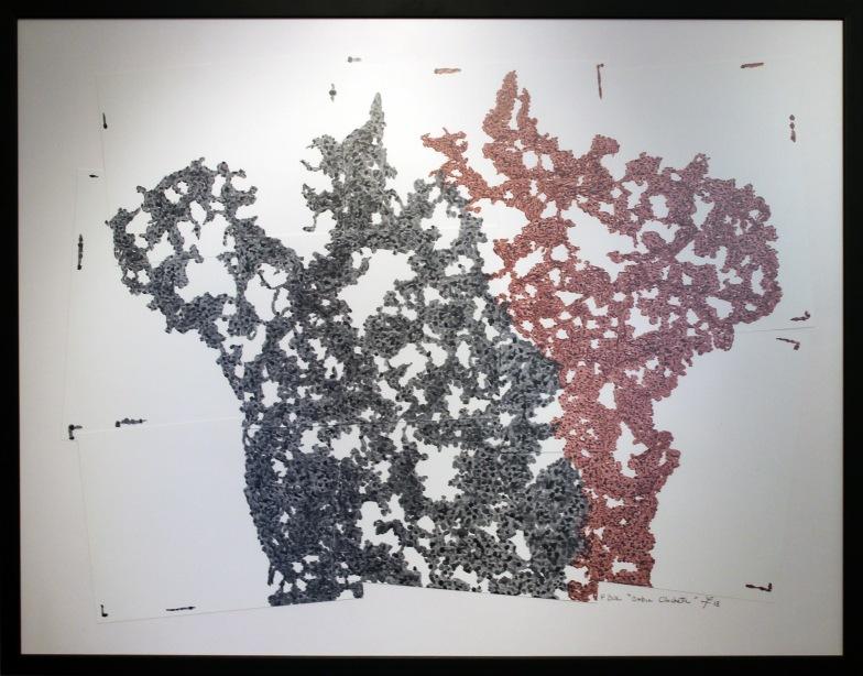 Tableau de Philippe Buil à l'encre sur papier couché réalisé à partir de la sculpture Belisama Clochette Encadré
