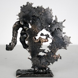 Signe du Zodiaque astrologie Lion 23 juillet 22 aout Bronze Acier - Sculpture Philippe Buil dos