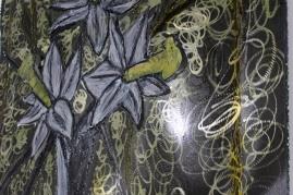 Tableau hommage Bernard Buffet Bouquet de fleurs jaunes Tableau acier encré Création Philippe Buil Pièce unique