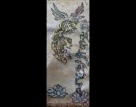 Tableau l'alchimiste phénix et mantra tibétain Tableau acier encré Création Philippe Buil Pièce unique