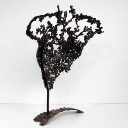 Sculpture de Philippe Buil en metal : dentelle de Bronze et acier Buste de Femme Belisama La folie Piece unique