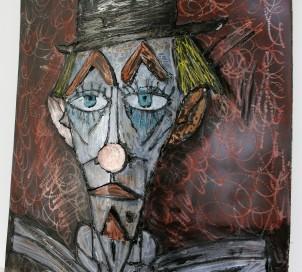 Tableau hommage Bernard Buffet Clown Rouge Tableau acier encré Création Philippe Buil Pièce unique