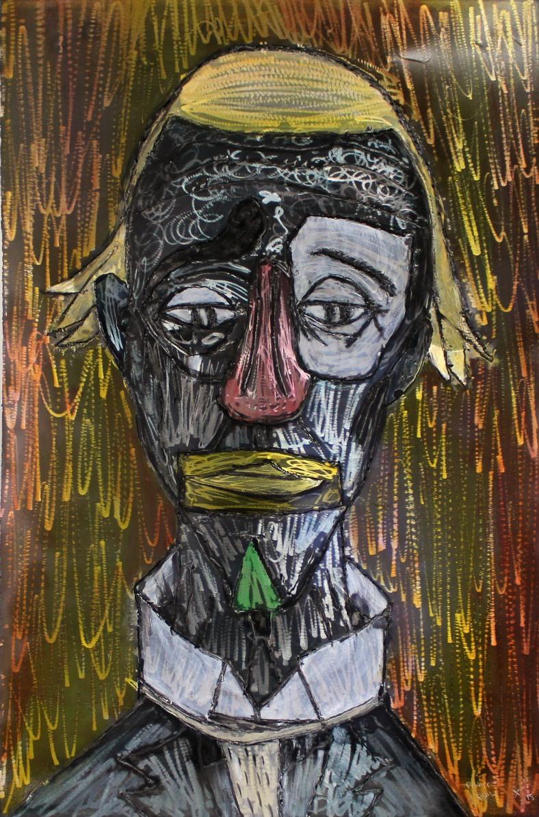 Tableau hommage Bernard Buffet Clown orange - Tableau acier encr