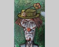 Tableau hommage Bernard Buffet Clown Vert Tableau acier encré Création Philippe Buil Pièce unique