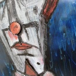 Tableau hommage Bernard Buffet Clown Bleu Tableau acier encré Création Philippe Buil Pièce unique