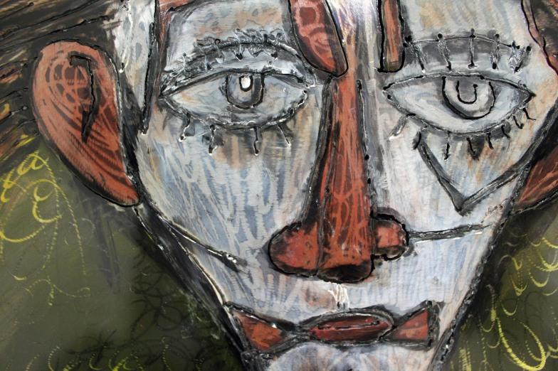 Tableau hommage Bernard Buffet Clown Jaune Tableau acier encré Création Philippe Buil Pièce unique