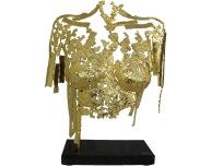 014 - Gold Belisama It's only gold - Sculpture philippe Buil - Buste femme en dentelle de bronze et feuilles d'or 24 carats WP