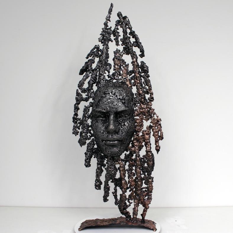 Cabinet curiosité Oural - Sculpture Philippe Buil - Visage Meta