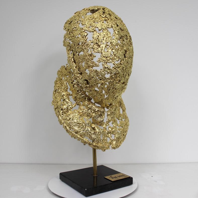 Gold trophée masque escrime - FIE - Sculpture Philippe Buil - D