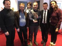 muse de massenet - sculpture philippe buil - remise à vincent ferriot de france télévision par gael perdriau maire de saint etienne