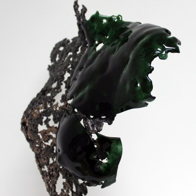 Sculpture de Philippe Buil en metal et verre: dentelle acier bronze et verre lace of steel bronze and glass Buste de Femme Belisama La Rebelle Piece unique