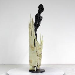 Sculpture de Philippe Buil en metal Acier et verre glass représentant la muse de Massenet Piece unique Muse acier et verre