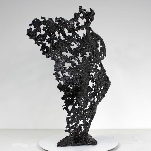Sculpture de Philippe Buil en metal : dentelle acier Buste de Femme Belisama Waitning Piece unique