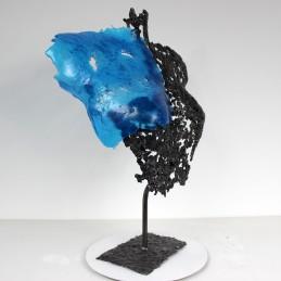 Sculpture de Philippe Buil en metal et verre: dentelle acier et verre lace of steel and glass Buste de Femme Belisama Les Iliades Piece unique