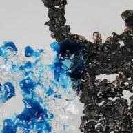 Sculpture de Philippe Buil en metal : dentelle acier bronze verre Buste de Femme Belisama bleu mer Piece unique Sculpture by Philippe Buil in metal: lace steel bronze glass Bust of the Woman Belisama blue sea Unique Piece