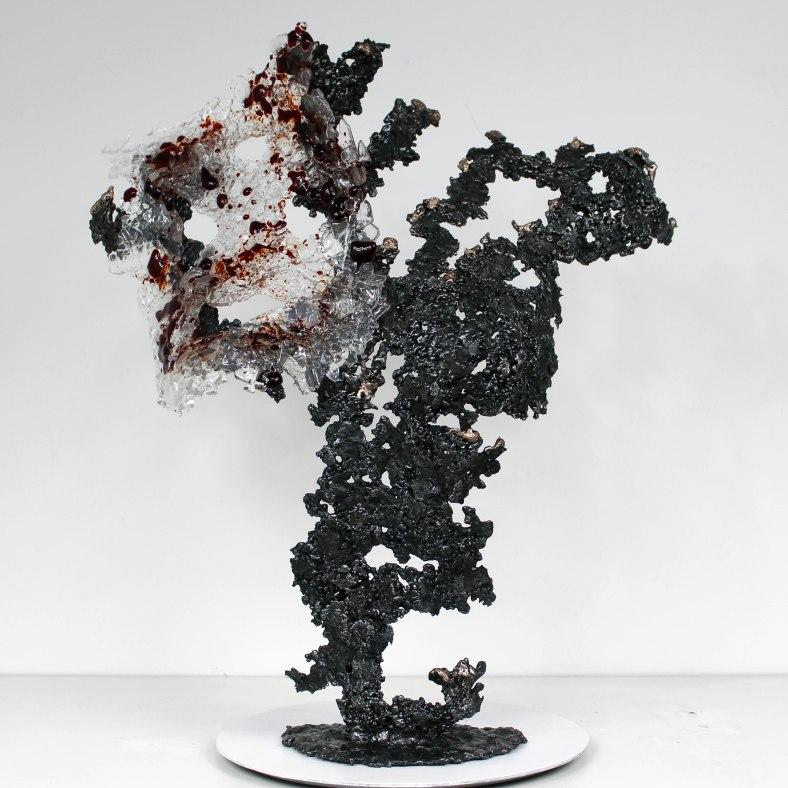 Belisama rouge carmin - Sculpture Philippe Buil - Buste de femme
