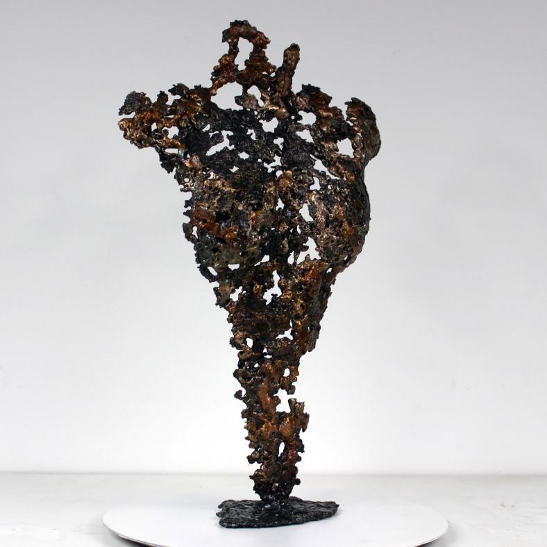 Pavarti Olympe - Sculpture Philippe Buil - Corps femme dentelle Acier bronze