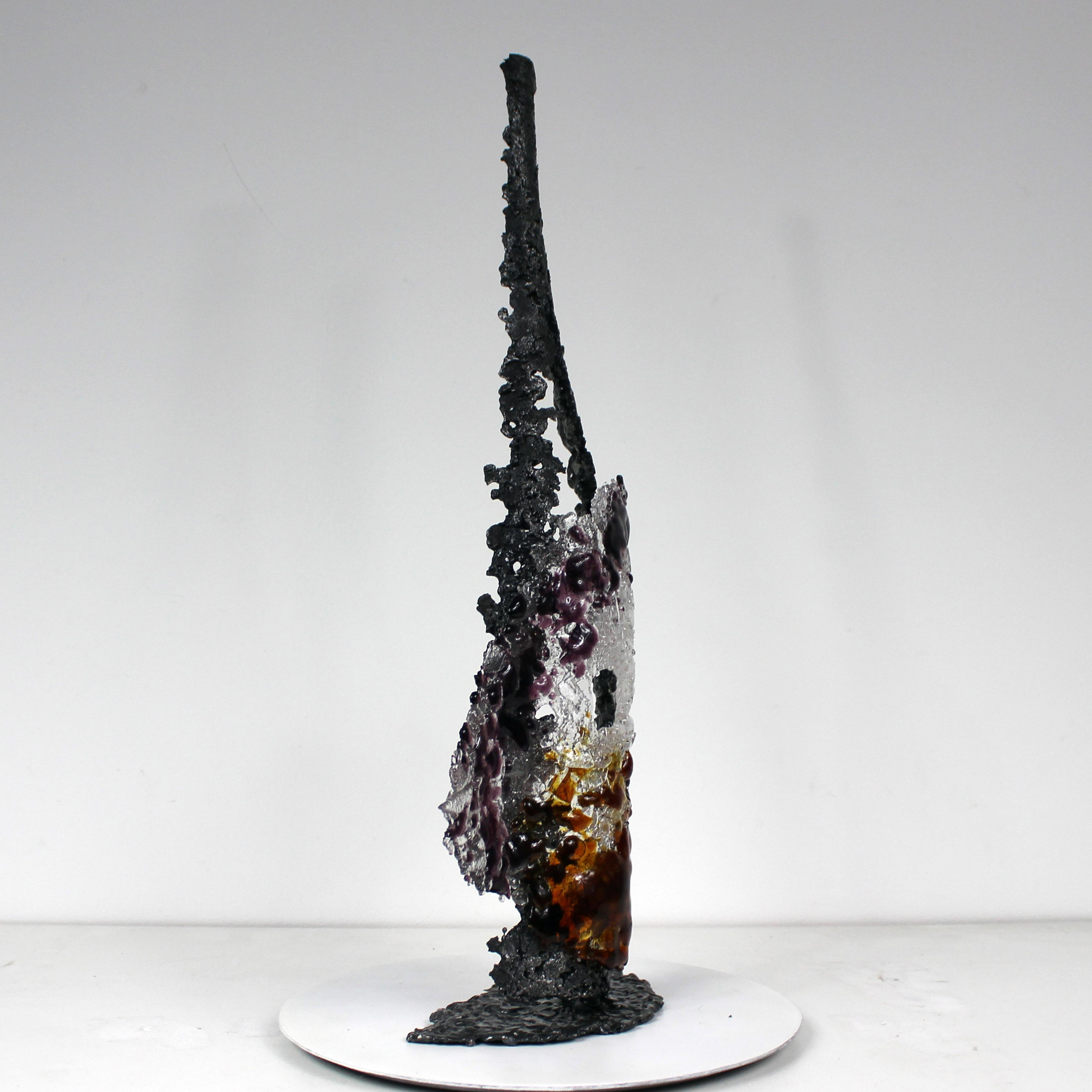 BOUTEILLE POIRE AUTOMNE - Sculpture bouteille métal et verre